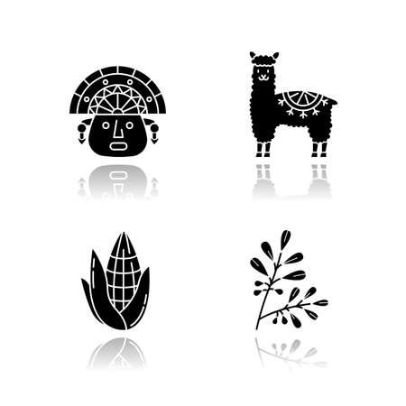 Peru drop shadow black glyph icons set. Andean country features. Alpaca, incas, corn, coca. Incas history, and life traditions. Peruvian customs. Isolated vector illustrations on white space Ilustración de vector