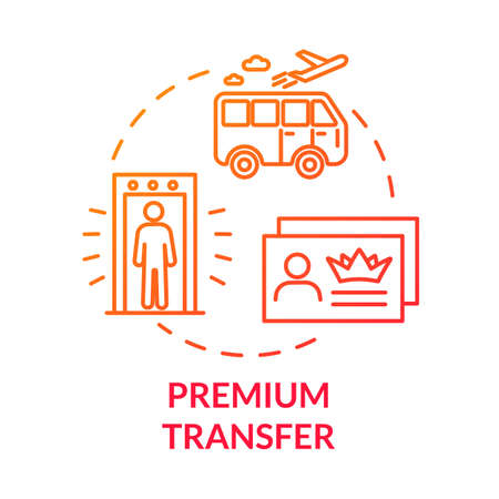 Premium transfer concept icon. Airline passenger luxury transport idea thin line illustration. Airport shuttle bus, VIP service benefit. Vector isolated outline RGB color drawing 向量圖像
