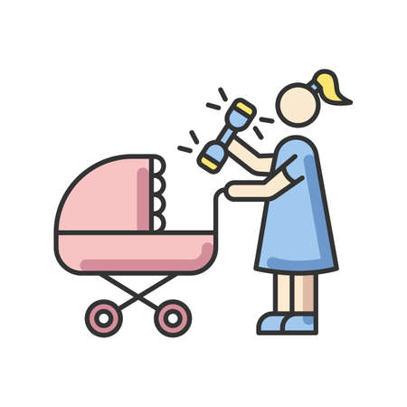 Newborn experience RGB color icon. Woman with rattle toy. Mother with infant baby in stroller. Mom go for walk with perambulator. Maternity and child care. Isolated vector illustration