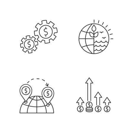 International business, global trade pixel perfect linear icons set.World trading, competitive edge. Customizable thin line contour symbols. Isolated vector outline illustrations. Editable stroke
