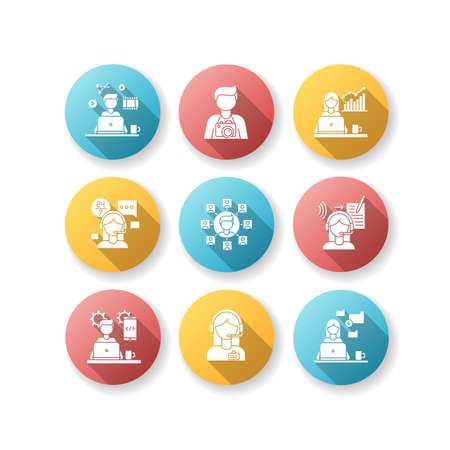 Remote jobs flat design long shadow glyph icons set. Technical and admin support, SEO and marketing. Photography and video editing, data entry jobs. Silhouette RGB color illustration