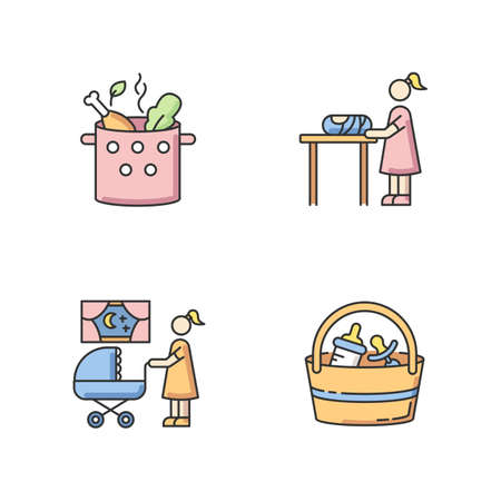 Babysitter service RGB color icons set. Cooking food. Vegetable and meat soup boil in pot. Woman changing baby diaper. Night time nanny. Babysitting set. Isolated vector illustrations