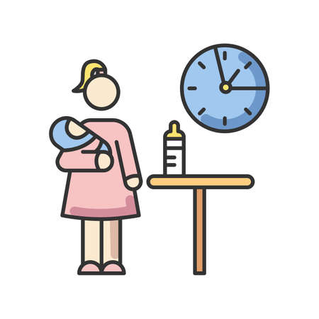 Part time babysitter RGB color icon. Babysitting service worker. Girl looking after baby. Day child care. Help with infant kid. Waiting for feeding time. Isolated vector illustration