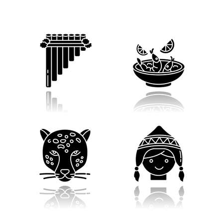 Peru drop shadow black glyph icons set. Peruvian art, cuisine, animal world, costume. Siku, ceviche, jaguar, chullo hat. Customs of andean culture. Isolated vector illustrations on white space