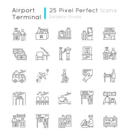 Airport terminal pixel perfect linear icons set. Boarding pass. Flight information. Smoking area. Customizable thin line contour symbols. Isolated vector outline illustrations. Editable stroke Vektorgrafik