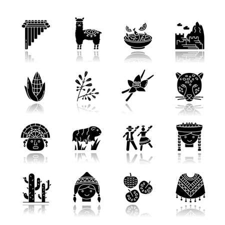 Peru drop shadow black glyph icons set. Peruvian sights, culture, nature, cuisine. Alpaca, guinea pig, siku, poncho, cherimoya, ceviche, jaguar. Isolated vector illustrations on white space Illustration