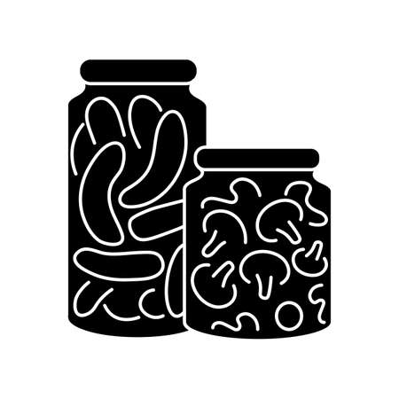 Pickling black glyph icon. Food conservation, vegetables preservation. Raw veggies fermentation in brine silhouette symbol on white space. Canned cucumbers and mushrooms vector isolated illustration