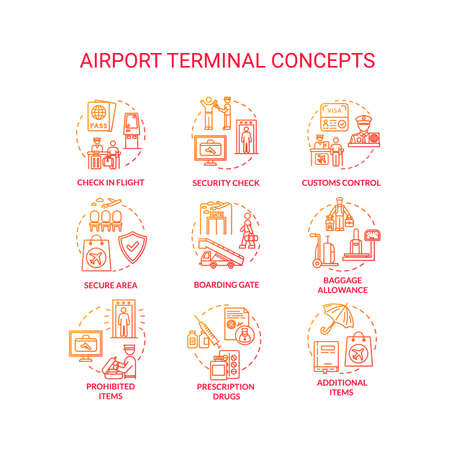 Airport terminal concept icons set. Security check, boarding gate idea thin line RGB color illustrations. Customs control, boarding gate. Vector isolated outline drawings