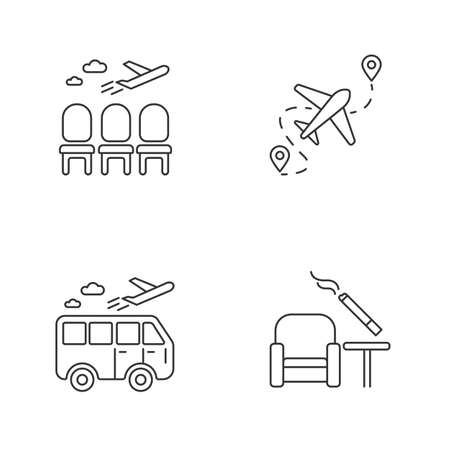 Airport terminal pixel perfect linear icons set. Waiting area for passengers. Airplane departure. Customizable thin line contour symbols. Isolated vector outline illustrations. Editable stroke