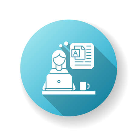 Blog writing blue flat design long shadow glyph icon. Freelance blogger, rewriter, online publishing, post author. Blogging, website constant content filling. Silhouette RGB color illustration