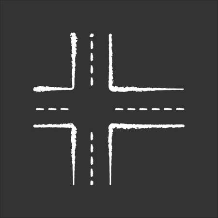 Crossroad chalk white icon on black background. Intersection of roads. Crossing pavement ways. Junction of crosswalk. Urban infrastructure. Crossed motorway. Isolated vector chalkboard illustration 向量圖像