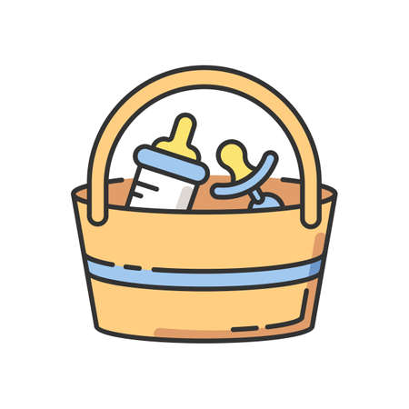 Babysitter set RGB color icon. Baby pacifier and essentials to bring along. Bottle for feeding infant child. Bag with items for child care. Child care kit. Isolated vector illustration 向量圖像