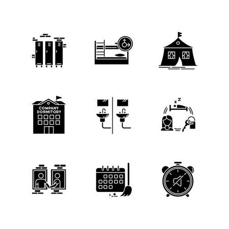 Living in dormitory black glyph icons set on white space. Lockers. Mixed bedroom. Company dorm. Neighborhood. Cleaning schedule. Communal bathroom. Silhouette symbols. Vector isolated illustration