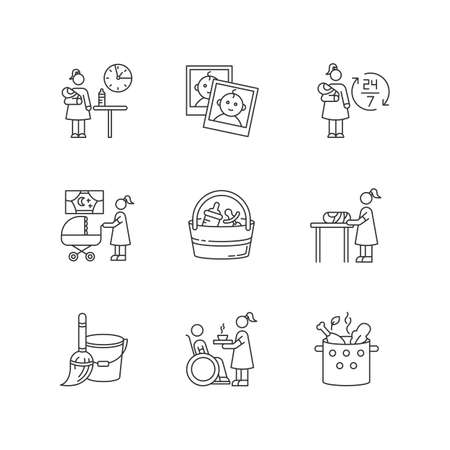 Babysitter service pixel perfect linear icons set. Around clock babysitting. Household duty. Customizable thin line contour symbols. Isolated vector outline illustrations. Editable stroke 向量圖像