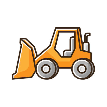 Bulldozer RGB color icon. Road works industrial truck. Dozer for ground loading. Excavator for construction. Agricultural transport. Machinery with large shovel. Isolated vector illustration