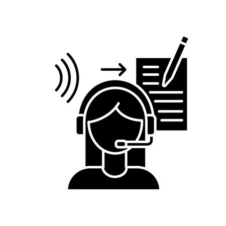 Transcription black glyph icon. Listening and translation, foreign language representation, audio records conversion into text. Silhouette symbol on white space. Vector isolated illustration