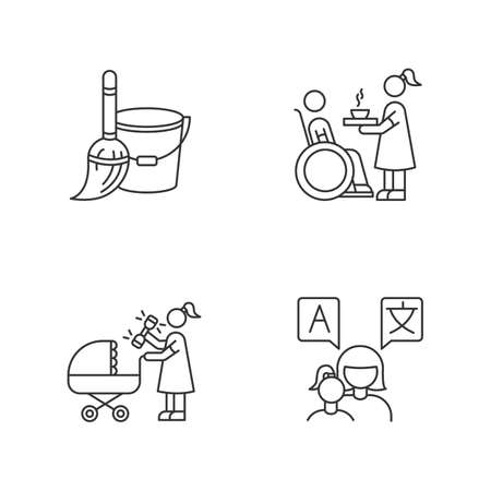 Babysitter service pixel perfect linear icons set. Household duties. Special needs assistance. Customizable thin line contour symbols. Isolated vector outline illustrations. Editable stroke 向量圖像