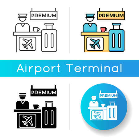 Premium airplane reservation icon. Luxury lounge area for comfortable waiting. Airline helpdesk. Checked luggage, baggage near counter. Linear black and RGB color styles. Isolated vector illustrations Vettoriali