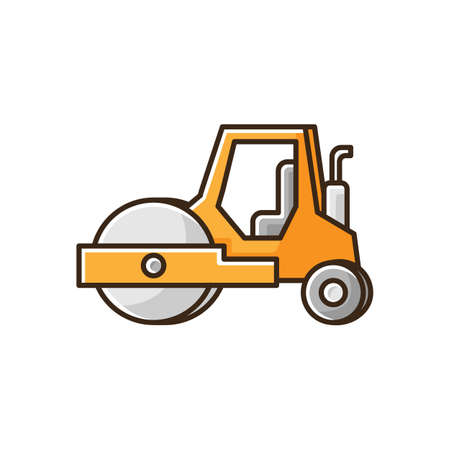 Road roller RGB color icon. Compactor type vehicle for construction works. Roadworks transportation. Heavy machinery for paving. Surfacing works machinery. Isolated vector illustration 向量圖像