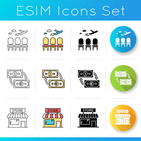 Airport terminal icons set. Waiting lobby before airplane departure. Aircraft lounge for passengers. Duty free shop. Money exchange. Linear, black and RGB color styles. Isolated vector illustrations Vettoriali