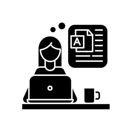 Blog writing black glyph icon. Social media blogger, online publishing, post author. Blogging, website constant content filling. Silhouette symbol on white space. Vector isolated illustration Иллюстрация