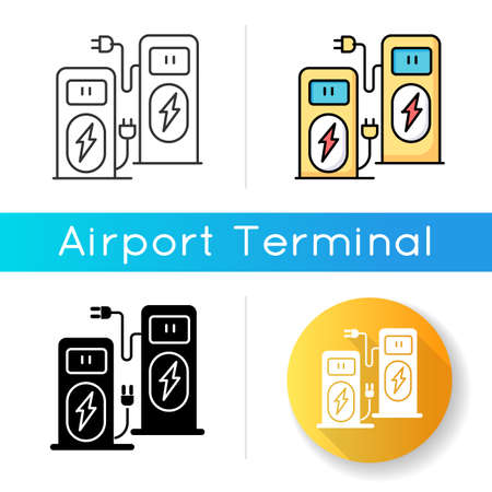 Power recharge terminal icon. Self service kiosk to charge vehicle. Accumulator for fuel supply. Power station for transport. Linear black and RGB color styles. Isolated vector illustrations
