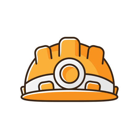 Safety equipment RGB color icon. Worker helmet for secure work. Builder hardhelmet. Headgear for engineer. Protection from incident. Part of workman uniform. Isolated vector illustration Illustration