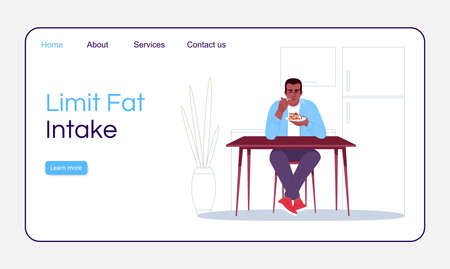 Limit fat intake landing page vector template. Healthy nutrition website interface idea with flat illustrations. Homepage layout. Obesity prevention tips cartoon web banner, webpage Illustration