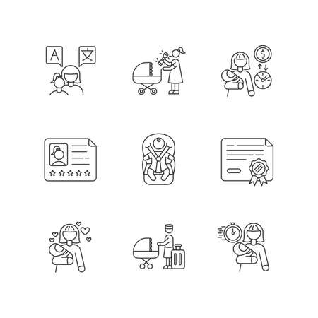 Babysitter service pixel perfect linear icons set. Speak languages with toddler. Child day care. Customizable thin line contour symbols. Isolated vector outline illustrations. Editable stroke Ilustración de vector