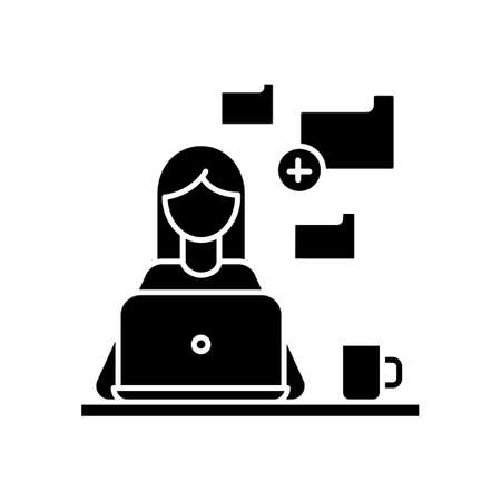 Data entry jobs black glyph icon. Converting image to text, copying and pasting text material. Data tasks and document formatting. Silhouette symbol on white space. Vector isolated illustration Ilustração