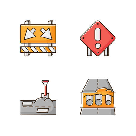 Road works RGB color icons set. Traffic sign for cars to take detour. Attention roadsign. Patching paving. Pipe replacement. Civil engineering and construction. Isolated vector illustrations Stock Illustratie