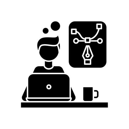 Creative designer black glyph icon. Presentation and desktop designing. Editing, computer graphics, media project. Remote work. Silhouette symbol on white space. Vector isolated illustration