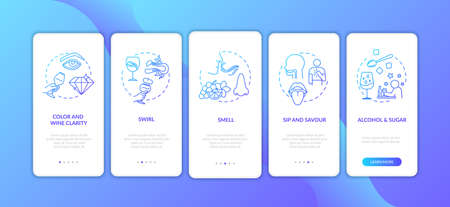 Wine tasting onboarding mobile app page screen with concepts. Inspect alcohol clarity with all senses walkthrough 5 steps graphic instructions. UI vector template with RGB color illustrations