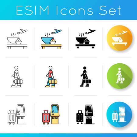 Airport terminal icons set. Serving food in aircraft terminal cafe. Eat before flight. Male passenger with bag. Self service kiosk. Linear, black and RGB color styles. Isolated vector illustrations Ilustração