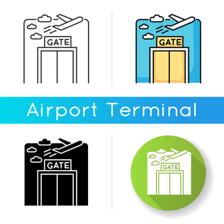 Airport gate icon. Airplane departure. Plane flying in sky. Window at aircraft lounge. International transportation by aviation. Linear black and RGB color styles. Isolated vector illustrations