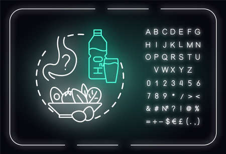 Dont starve neon light concept icon. Wine tasting advice idea. Outer glowing sign with alphabet, numbers and symbols. Drinking water between degustations. Vector isolated RGB color illustration
