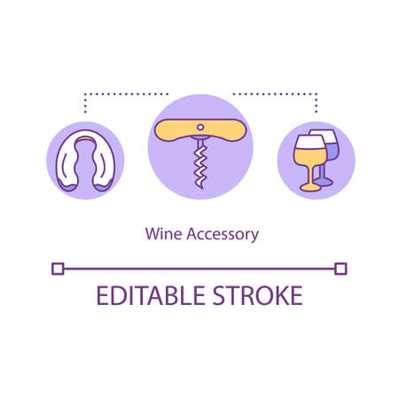 Wine accessory concept icon. Corkscrew for glass of alcohol. Tools to open bottle of beverage idea thin line illustration. Vector isolated outline RGB color drawing. Editable stroke Illustration