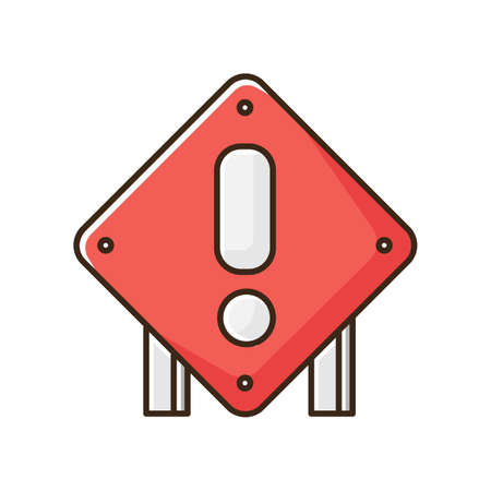 Square attention road sign RGB color icon. Roadworks construction warning. Road control notice. Exclamation sign for highway. Accident ahed caution. Traffic control. Isolated vector illustration