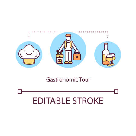 Gastronomic tour concept icon. Local traditional cuisine. Travel to try gourmet meal. Food tour idea thin line illustration. Vector isolated outline RGB color drawing. Editable stroke Vektoros illusztráció