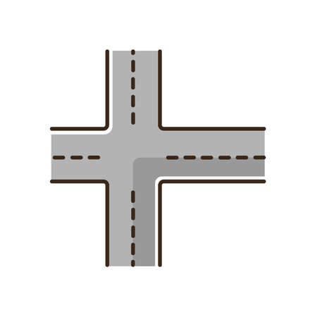 Crossroad RGB color icon. Intersection of roads. Crossing pavement ways. Junction of crosswalk. Urban infrastructure. Crossed motorway. Pathway with multiple turns. Isolated vector illustration 向量圖像