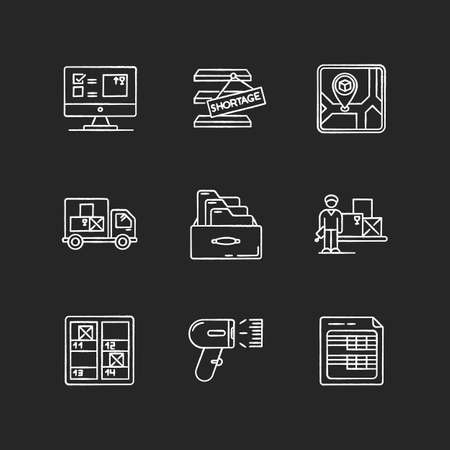Inventory control and bookkeeping chalk white icons set on black background. Spreadsheets and card system. Storage place, goods shortage and receipt. Isolated vector chalkboard illustrations