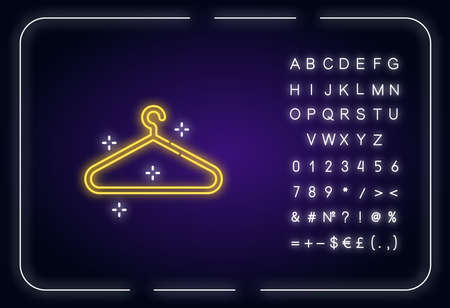 Empty hanger neon light icon. Hang clothes in closet. Garment storage. Cloakroom sign. Outer glowing effect. Sign with alphabet, numbers and symbols. Vector isolated RGB color illustration Illustration