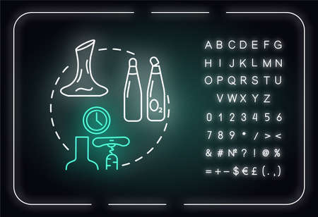 Oxidized wine neon light concept icon. Alcohol drink flaws indication, winetasting idea. Outer glowing sign with alphabet, numbers and symbols. Heat damage sign. Vector isolated RGB color illustration