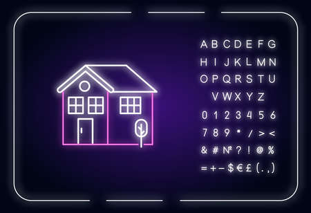 Home neon light icon. Residential house mortgage. Real estate coverage. Construction for sale. Outer glowing effect. Sign with alphabet, numbers and symbols. Vector isolated RGB color illustration Imagens - 143535394