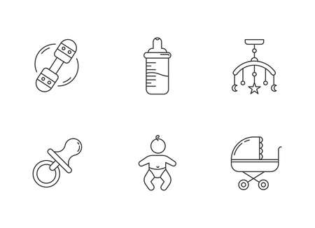 Baby care service pixel perfect linear icons set. Toys for infants. Decoration for newborn bedroom. Customizable thin line contour symbols. Isolated vector outline illustrations. Editable stroke