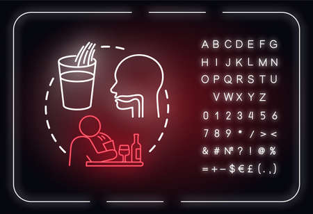 Spit out wine neon light concept icon. Professional sommelier advice, winetasting tips idea. Outer glowing sign with alphabet, numbers and symbols. Vector isolated RGB color illustration