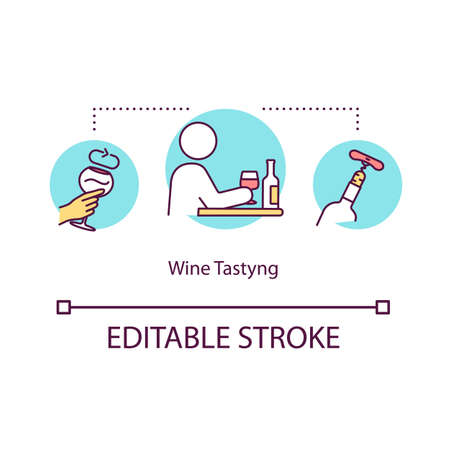 Wine tasting concept icon. Winetasting event at restaurant. Try alcohol beverage. Expert sommelier guide idea thin line illustration. Vector isolated outline RGB color drawing. Editable stroke 일러스트