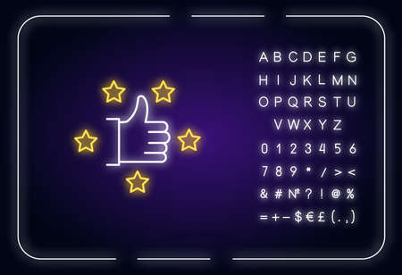Recommendation neon light icon. Thumbs up. Five star. Review rate. Customer satisfaction level. Outer glowing effect. Sign with alphabet, numbers and symbols. Vector isolated RGB color illustration 向量圖像