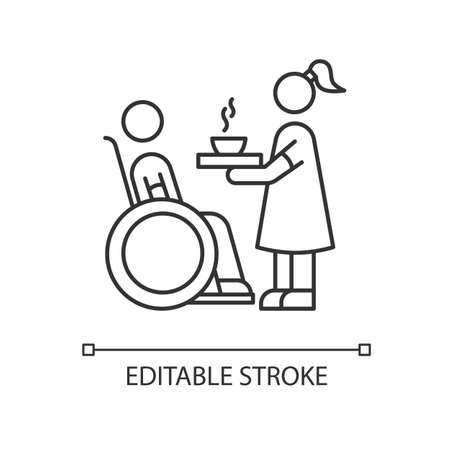 Special needs pixel perfect linear icon. Social worker help senior person. Disabled in wheelchair. Thin line customizable illustration. Contour symbol. Vector isolated outline drawing. Editable stroke
