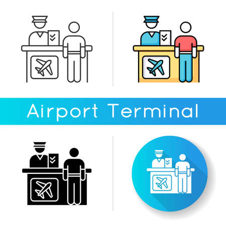 Airport information desk icon. Registration desk for airplane passengers. Helpdesk to provide information. Counter personnel check. Silhouette symbol on white space. Vector isolated illustration